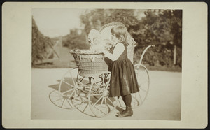 Full-length double portrait of Margaret Crocker, standing next to a baby carriage, location unknown, ca. 1890