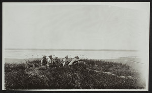 Five men on the shore hunting, South Orleans, Mass., undated