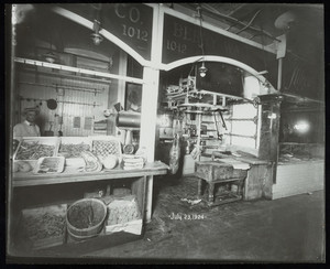 Interior view of Quincy Market, Berry-Wales Company stall, Boston, Mass.