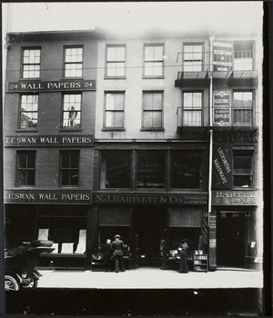Exterior of commercial buildings, T.F. Swan & N.J. Bartlett, Cornhill, Boston, Mass., undated