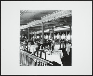 Interior view of the dining room on the steamship Commonwealth, location unknown, 1895-1900