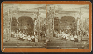Stereograph of a preacher and a group of singers at a camp meeting, Northampton, Mass., undated