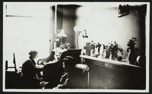 Two women in the Blaisdell Office, Boston, Mass., undated