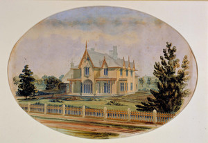 Presentation exterior perspective of the Henry C. Bowen House, Woodstock, Conn., 1846