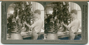 Lasting machine shaping shoes in a Massachusetts shoe factory
