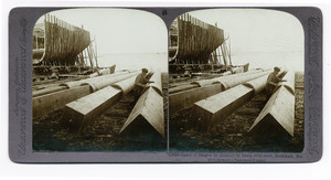 Spars of Oregon fir finished by hand, ship-yard Rockland, Me.