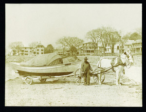 Will Sheppard with a boat, Swampscott, Mass., February 12, 1900