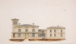 East elevation of an unidentified Italianate villa, designed by Gervase Wheeler, location unknown, ca. 1848-1849