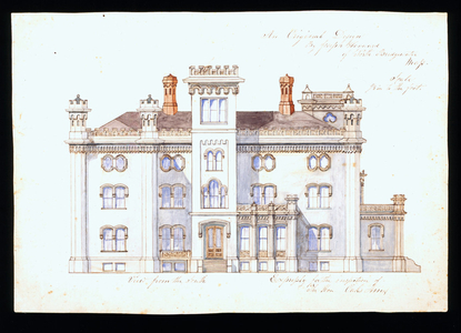South elevation of the Oakes Ames House, North Easton, Mass., ca. 1850