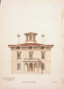 Front elevation of an unidentified house, designed by Alexander R. Esty, location unknown, ca. 1855