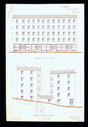 Front elevation of stores and tenements for Matthew Bartlett, Broad and Belmont Streets, Boston, Mass., 1856