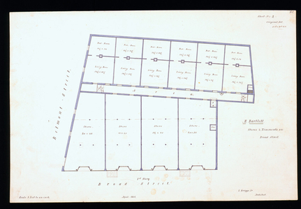 First floor plan of stores and tenements for Matthew Bartlett, Broad and Belmont Streets, Boston, Mass., 1856