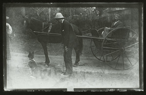 Portrait of two unidentified men with a cart and a dog, Sharksmouth, Manchester, Mass., undated
