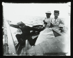 Elinor Curtis and two companions on a sailboat, Manchester, Mass., 1890