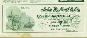 Advertisement for John R. Neal & Co., fresh and frozen fish, 21, 22 & 23 T Wharf, Boston, Mass., 1901