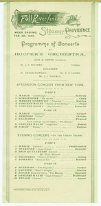 Program of concerts on the Steamer Providence, Feb. 1890