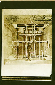 Illustration of a steamship engine room, location unknown, undated