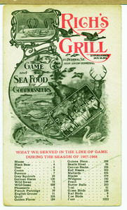Postcard for Rich's Grill, game and seafood for connoisseurs, 153 Federal Street, Boston, Mass., 1907-1908