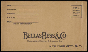 Envelope for Bellas Hess & Co., Washington, Morton & Barrow Streets, New York, New York, undated