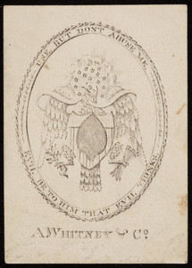 15 stars and eagle, ace of spades playing card, A. Whitney & Co., Boston, Mass., ca. 1790