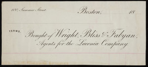 Billhead for Wright, Bliss & Fabyan, dry goods commission merchants, 100 Summer Street, Boston, Mass., 1800s