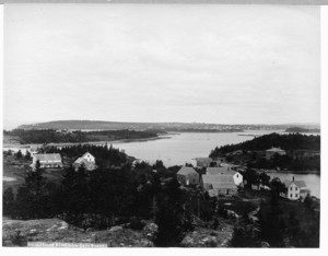 Landscape with bay, homes and trees, Castine, Maine, undated