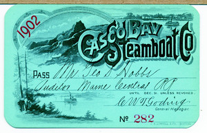 Pass for Casco Bay Steamboat Co., Portland, Maine, 1902