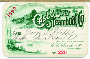 Pass for the Casco Bay Steamboat Co., Portland, Maine, 1899