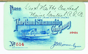 Pass for the Portland Steamship Company, Portland, Maine, 1901