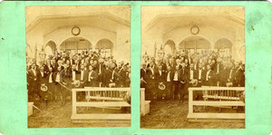 Stereograph of a group of people at a campground tabernacle meeting, Oak Bluffs, Mass., ca. 1869
