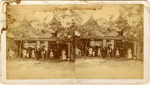 Stereograph of a group of people in front of a commercial building, Oak Bluffs, Mass., ca. 1870