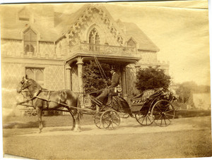 Carriage driver parked in front of the Mudge House, Swampscott, Mass., 1880-1890