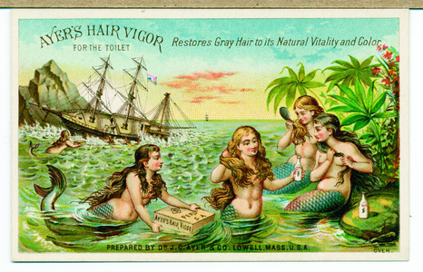 Trade card advertising Ayer's Hair Vigor with shipwreck and mermaids, Lowell, Mass., undated