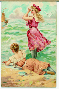 Card with girls in bright bathing costumes on the shore, location unknown, undated
