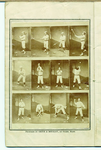 George Wright's Book for 1875 containing record of the Boston Base Ball Club, with scores of base ball and cricket trip to England, and other items of interest, also, base ball attitudes, in twelve different styles, with an explanation of each, Hyde Park, Mass., printed at the Norfolk County Gazette Office, 1875
