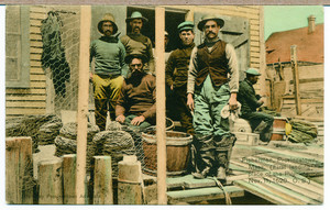 Fishermen on the docks with nets, Provincetown, Mass., undated