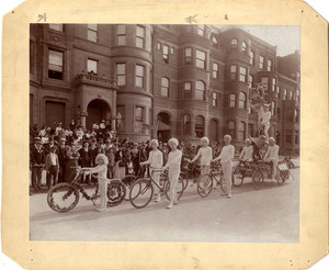 Woodbridge Bicycle Club standing in parade formation on Columbia Avenue, Boston, Mass., 1896