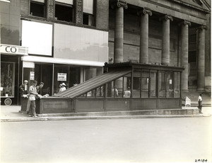 Exterior view of a Tremont Street subway entrance, Boston, Mass., ca. 1954