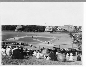 Bird's-eye view of baseball game looking north, Falmouth Heights, Mass., undated