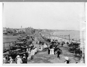 Waterfront and baseball field with spectators, Falmouth Heights, Mass., undated