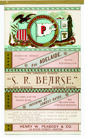 Trade card for Henry W. Peabody & Co., Australian Line, 114 State Street, Boston, Mass., May 26, 1884