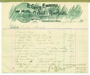 Billhead for E. Gerry Emmons, manufacturer of sail and row boats, 3 New Ocean Street, Swampscott, Mass., dated July 20, 1894