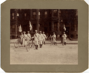 Bicycle paraders standing in formation for the Boston Bicycle Parade, Boston, Mass., 1896