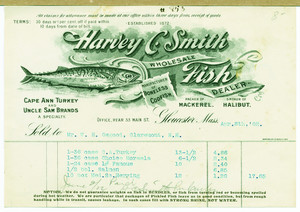 Billhead for Harvey C. Smith, wholesale fish dealer, 33 Main Street, Gloucester, Mass., dated April 8, 1902