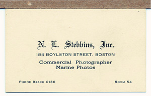 Business card for N.L. Stebbins, Inc., commercial photographer, marine photos, 184 Boylston Street, Boston, Mass., undated