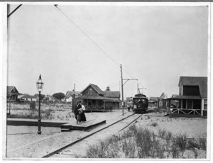 View of Plum Island trolley line with cottages and boardwalk, Plum Island, Mass., undated