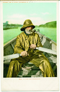 Fisherman in rough weather gear, location unknown, undated