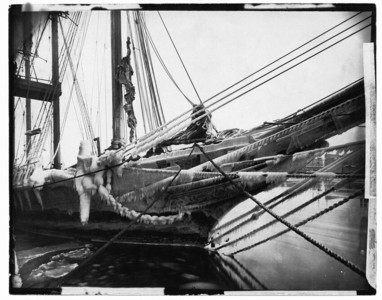 Schooner Augustus Hunt covered in ice, location unknown, undated