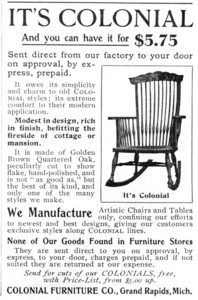 Trade advertisement for the Colonial Furniture Co. featuring a rocking chair, Grand Rapids, Michigan, April 1899