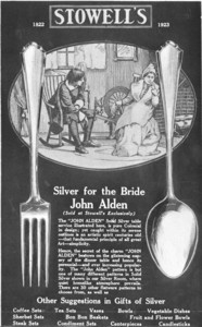 Trade advertisement for the John Alden silver pattern, sold at Stowell's, Boston, Mass., 1923